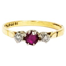 Vintage Ruby and Diamond 18 Carat Gold Three Stone Ring