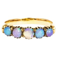 Vintage Opal and 9 Carat Gold Five Stone Ring