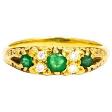 Edwardian Emerald and Diamond 18 Carat Gold Three Stone Ring