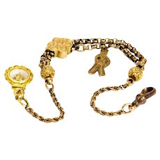 Victorian 9 Carat Gold Albertina With Charms