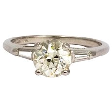Vintage 1.35 Carat Diamond and White Gold Solitaire