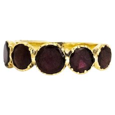 Georgian Flat Cut Garnet Five Stone 18 Carat Gold Band