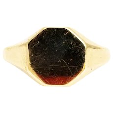 Art Deco 9 Carat Gold Hexagonal Signet Ring