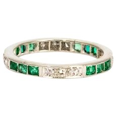 Art Deco Emerald and Diamond Platinum Eternity Band
