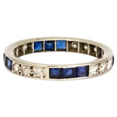 Art Deco Diamond and Sapphire Platinum Full Eternity Band