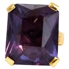 Art Deco Amethyst and 9 Carat Gold Cocktail Ring