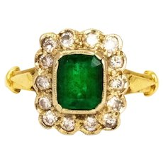Vintage Emerald and Diamond 18 Carat Gold Cluster Ring