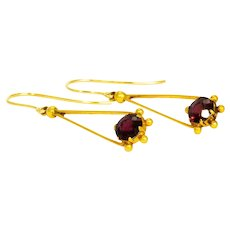 Edwardian Garnet and 9 Carat Gold Drop Earrings