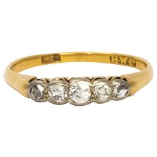 Edwardian 18 Karat Gold Platinum Five-Stone Diamond Ring