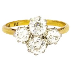 Edwardian 2 Carat Four Stone Diamond Ring