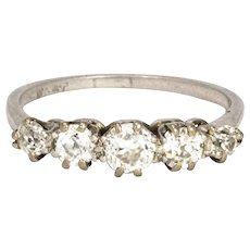 Edwardian Diamond and Platinum Five Stone Ring