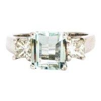 Vintage Aquamarine and Princess Cut Diamond 18 Carat White Gold Ring