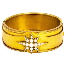 Victorian Pearl and 15 Carat Gold Bangle