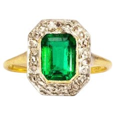 Vintage Synthetic Emerald and Diamond 18 Carat Gold Cluster Ring