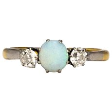 Vintage Opal and Diamond 18 Carat Gold Three Stone Ring