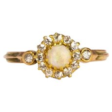 Vintage Opal and Diamond 9 Carat Gold Cluster Ring