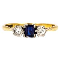 Edwardian Sapphire and Damond 18 Carat Gold Three Stone Ring