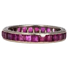 Art Deco Ruby and Platinum Full Eternity Band
