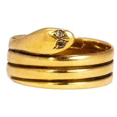 Victorian Diamod and 18 Carat Gold Snake Ring