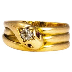 Edwardian Diamond and Ruby 18 Carat Gold Snake Ring