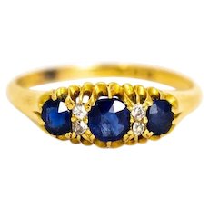 Victorian Sapphire and Diamond Three Stone 18 Carat Gold Ring