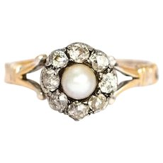 Victorian Diamond and Pearl 9 Carat Cluster Ring