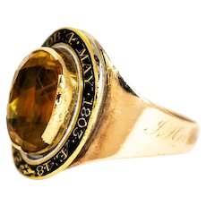 George III Citrine and 9 Carat Gold Mourning Ring