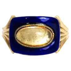Mid 19th Century Blue Enamel and Crystal 9 Carat Gold Ring