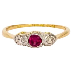 Edwardian Ruby and Diamond 18 Carat Gold Ring