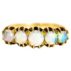 Edwardian 9 Carat Gold Opal Five-Stone Ring