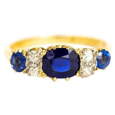 Vintage Sapphire and Diamond 18 Carat Gold Ring