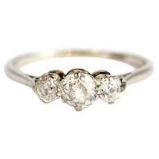 Edwardian 18 Carat Gold & Platinum Diamond Three-Stone Ring