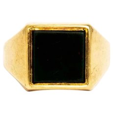Vintage Bloodstone and 9 Carat Gold Signet Ring