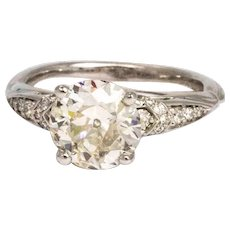 Vintage 2 Carat Diamond and Platinum Solitaire with Diamond Shoulders