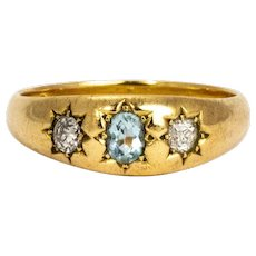 Late Victorian Diamond and Aqua 18 Carat Gold Gypsy Ring