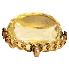 Vintage Citrine and 9 Carat Gold Swivel Fob Pendant