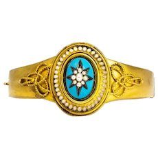Victorian Seed Pearl and Enamel 15 Carat Gold Bangle