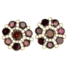 Georgian Flat Cut Garnet and Gold Stud Earrings