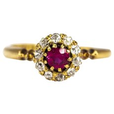 Edwardian Ruby and Diamond 18 Carat Gold Cluster Ring