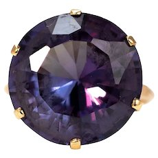 Vintage Purple Stone and 9 Carat Gold Solitaire Ring