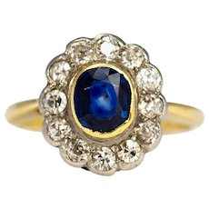 Edwardian Sapphire and Diamond 18 Carat and Platinum Cluster Ring