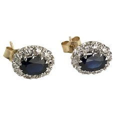Vintage Sapphire and Diamond Cluster Earrings