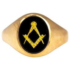 Vintage Onyx and 9 Carat Gold Masonic Signet Ring