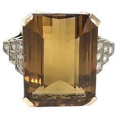 Vintage Citrine and Diamond 15 Carat Gold Cocktail Ring