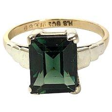 Art Deco Tourmaline and 9 Carat Gold Ring