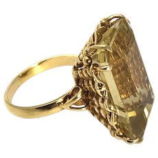 Vintage Citrine and 18 Carat Gold Cocktail Ring