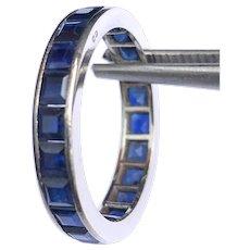 Art Deco Sapphire and Platinum Eternity Band