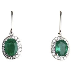 Vintage Emerald and Diamond 14 Carat White Gold Drop Earrings