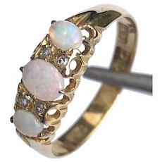 Edwardian Opal and Diamond 18 Carat Gold Three Stone Ring