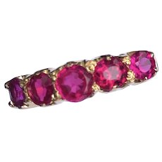 Edwardian Ruby and 18 Carat Gold Five Stone Ring